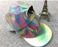 PVC Rainbow Color Reflective Hologram Adjustable Hat Unisex Baseball Cap HT001