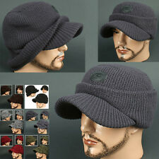 Cadet Box HOC dark GRAY Visor Beanie Chullo Skull Knit Cap Hat Ear wamer EarFlap