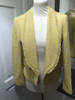 ZARA Yellow Boucle Short Hip Length Buttonless Jacket Size M Smart