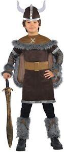Boys Viking Warrior Costume + Helmet Hat Child Saxon Fancy Dress Kids Outfit New