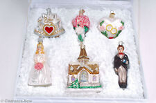 Old World Wedding Christmas Ornament Set of 6 in Box Bride Church Heart New 7549