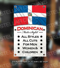 Dominican Master Stylist Banner Open Sign Beauty Barber Shop Boutique Display