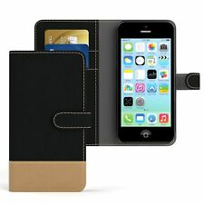 Tasche für Apple iPhone 5C Jeans Cover Handy Schutz Hülle Case Schwarz