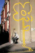 Banksy Canvas Print Wall Art - YELLOW LINES PAINTER 20 x 14 inch ready to hang