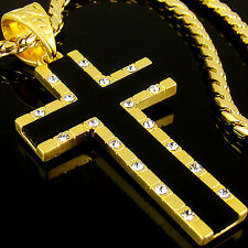 Pendant Chain Hiphop Onyx gift idea 24B 18K Gold Plated Mens Big Cross Necklace