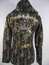 New  CHRISTIAN AUDIGIER DOUBLE PLATINUM WOMENS PANTHER HOODIE STONES BLK XS