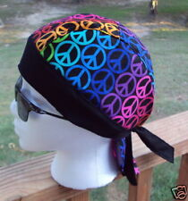 RAINBOW PEACE SIGN BLACK DU RAG SKULL HEAD WRAP BIKER