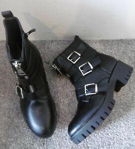 Black Zip Front & Buckle Detail Biker Boots Size UK 5 EU 38