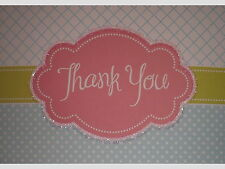 Glittered Pink/Green/Blue Thank You Note Cards w/ Envelopes