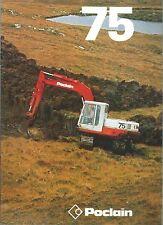 Brochure Poclain 75  Escavatore Cingolato anni 70 Shovel Macchine da Cantiere