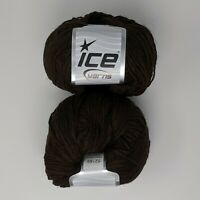 Lot of 2 Skeins Ice Yarn Luxury-Premium Dark Brown 15% Alpaca, 10% Viscose