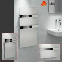 "Kudox ""Ikon"" Designer White Heated Towel Rail Radiator with Chrome Towel Bar"