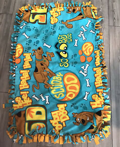 """Scooby Doo Flannel Blanket Throw Tied Fringe Handmade Two Layers Warm 46x28"""" R7"""