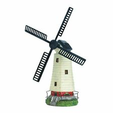 Solar Windmill Lighthouse Garden Yard Farm Statue Spinning Blades Led Outdoor