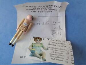 "PAIGE THORNTON Miniature Wooden Penny Peg Doll 3"" Dollhouse Antique Reproduction"