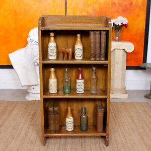 Antique Open Bookcase Bookshelves Carved Solid Beech Wood Arts Crafts