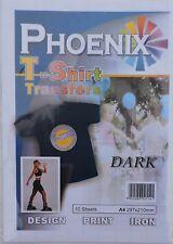 Phoenix Inkjet Iron on A4 T Shirt Transfer Paper Dark Fabric 10 Sheets