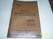 New listing Cincinnati Operators Instruction Book for #3,4,5 & 6 High Power/Dual Power mill