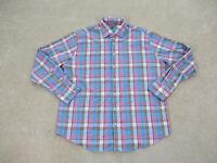 Peter Millar Shirt Adult Extra Large Blue Pink Blue Summer Comfort Button Up Men