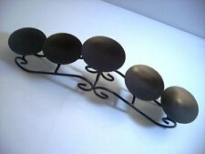 Heavy Antique Bronze Color Wrought Iron 5 Pillar Candle Holder Fireplace Insert