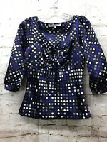 Violet & Claire Women's Size Small  Black Multi-Polka Dot 3/4 Sleeve Blouse Top