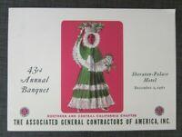 1961 Sheraton Palace Hotel Menu with Program, AGC Construction Assoc Banquet, SF