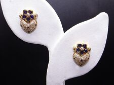18k Yellow 1.42ct Round Sapphire Diamond Heart Pave Flower Cluster Stud Earrings