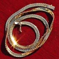 "14k 585 yellow gold necklace 17.75"" Italian herringbone link chain vintage 14.7g"