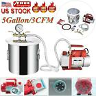 5 Gallon Vacuum Chamber And 3 CFM Single Stage Pump Degassing Silicone Kit US