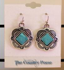 Western Turquoise Engraved Silver Metal Pierced Hook Cowgirl Earrings