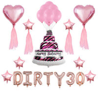 """16"""" DIRTY 30 Foil Balloons Birthday Party 30th Decor GOLD, SILVER ,ROSE G I2"""