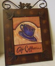 Metal sign Cafe' Cappuccino Coffee Cup Scroll Top Ready to Hang