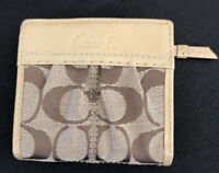 Coach Pleated Patent Trim Leather Tan Khaki Signature Small Wallet Lavender