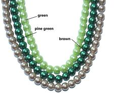 a string glass pearl beads, green, pine green, and brown, 6 mm & 8 mm