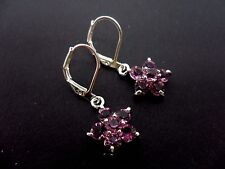 A PAIR OF  PRETTY PURPLE CRYSTAL FLOWER DANGLY  LEVER BACK HOOK EARRINGS.
