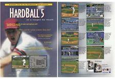 Original 1995 HARDBALL 5 PlayStation PS1 baseball video game two-page print ad