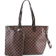 Ladies Designer Shopper Bag & Clutch Bag Womens Check Floral 2 in 1 Fashion Bags