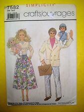 Vtg Barbie HEART FAMILY Baby 80s Doll Clothes PATTERN SIMPLICITY 7582 1986