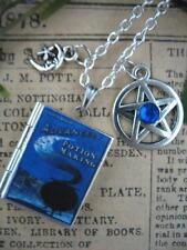 Silver POTION MAKING Book Photo LOCKET Necklace Wicca Pentacle Gothic Spells