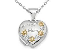 Plata esterlina mamá Corazón Flor Medallón con Cadena