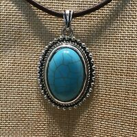 Southwest Necklace Faux Turquoise Stone Pendant Oval Beaded Rope Silver Tone