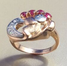 ART DECO RING, 14K ROSE & WHITE GOLD W/ 4 DIAMONDS, 4 SYNTHETIC ? RUBIES, SZ 6.5