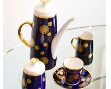 Feines Espresso Mocca Service 4 Pers 11 Teile Fine China Kobalt Blau Gold Lichte