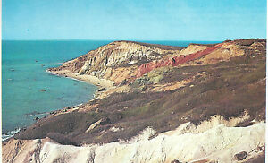 Cliffs of Gay Head   Showing the Clay Colors   Martha's Vineyard  MA   Postcard