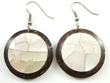 Natural Mother of Pearl Shell Coconut Wood Dangle Drop earrings Jewelry CA038