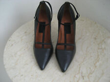 "NW AUTH LANVIN POINTED T-STRAP POINTED LEATH PUMPS SZ'38""1/2RET898 WOW"