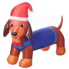 New ! Holiday Time Inflatable Weiner Dog with Santa Hat, 7 Feet