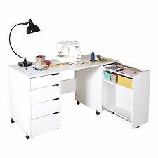 White Sewing Machine Table Arts And Crafts Desk With Storage On Wheels Organizer