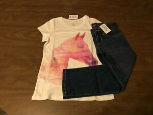 NEW Girl's Children's Place Skinny Jeans Size 5 & Horse Graphic Top Size 5/6