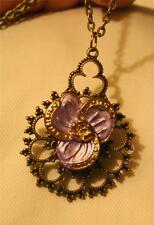 Dainty Lacy Openwork Brasstone Enameled Pansy Violet Flower Pendant Necklace